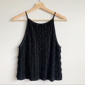 Club Monaco Black Crop Top Knit High Neck Size M